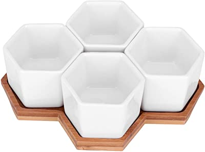 4pcs Ceramic Flower Pots, Hexagonal Plant Decoration Containers for Decorate Desks Bookshelves Bamboo Trays with Drainage