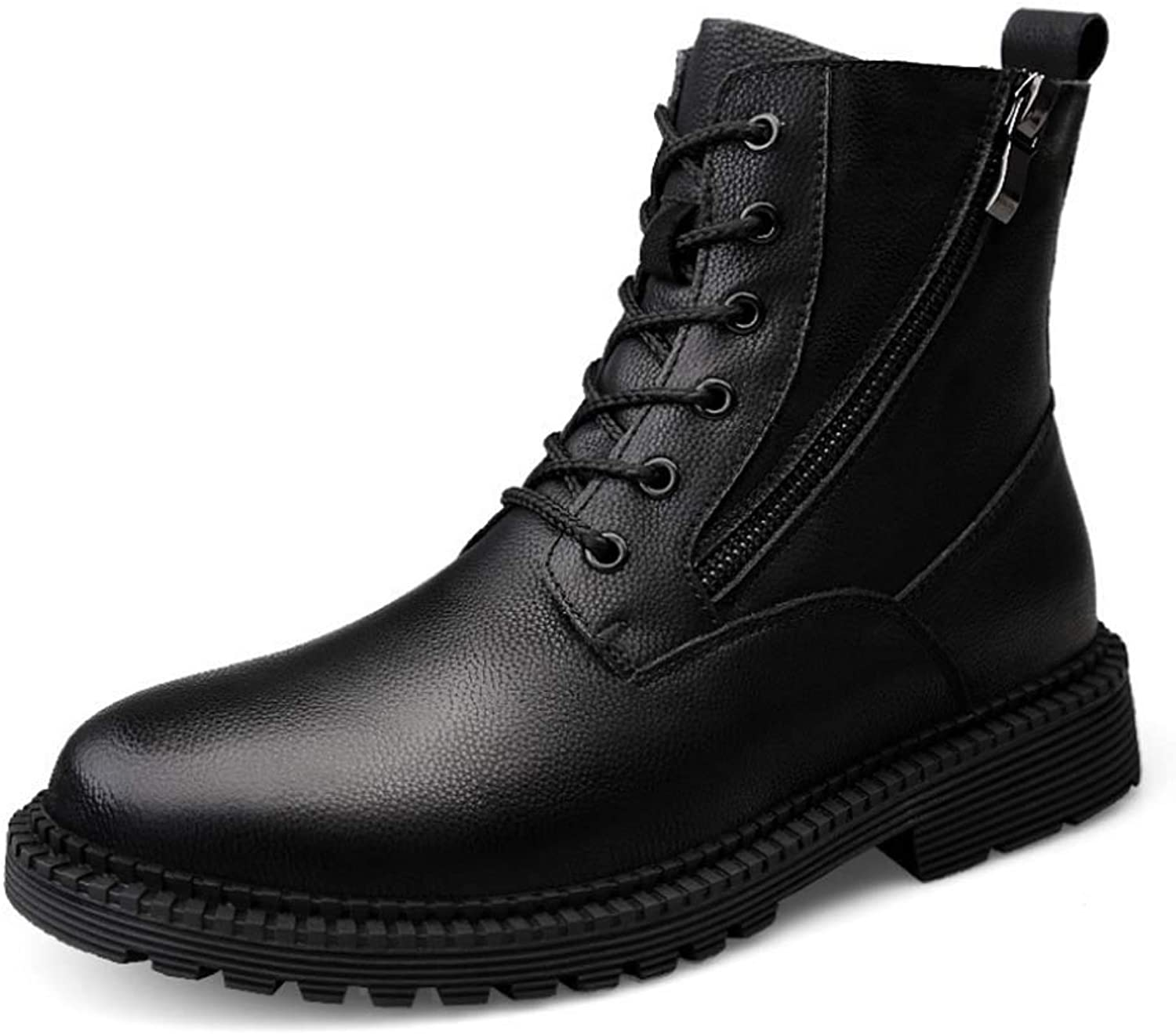 Men Martin Ankle Boots Lace-up Chunky Heel Buckles Boots Military Style Fashion Outdoor Casual Waterproof Hiking Footwear