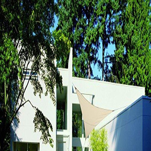PEGANE Voile d'ombrage Triangulaire Sable en Polyester 280 grs/m² Anti-UV, 500 x 500 x 500 cm avec kit de Fixation