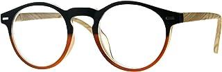 Unisex Round Keyhole Thin Plastic Horn Rim Reading Glasses