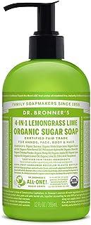 Dr. Bronner's - Organic Sugar Soap (Lemongrass, 12 Ounce) - Made with Organic Oils, Sugar and Shikakai Powder, 4-in-1 Use:...