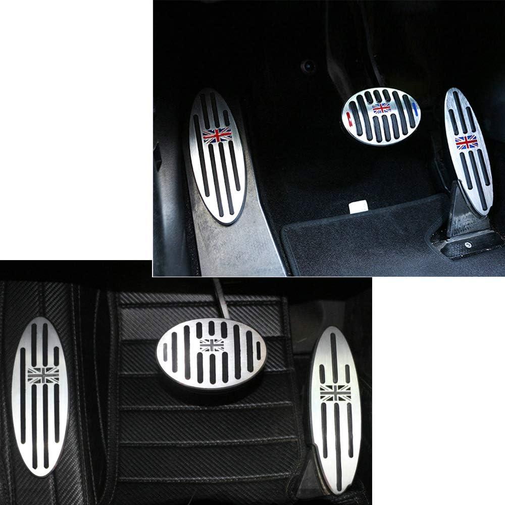 2 pcs Grey Jack QIDIAN Adesivi per pedale poggiapiedi in alluminio per auto per Mini Cooper ONE S Clubman F54 F55 F56 R55 R56 R60 F60 Countryman Cambio automatico