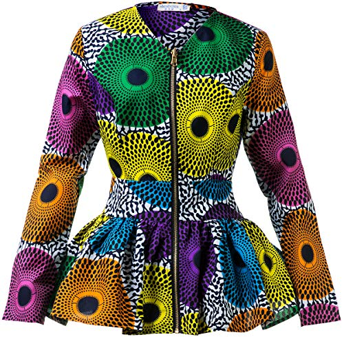 Shenbolen Women African Print Shirt Ankara Long Sleeves Top(A,XX-Large)