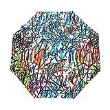 GraciasU Graffiti Tags Doppelschichtiger Automatischer Regenschirm, leicht, robust, Winddicht, kompakt, faltbar, Anti-UV-Regenschirm für Reisen und Business
