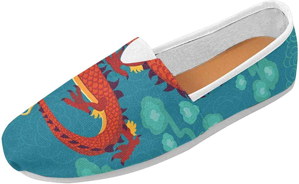 INTERESTPRINT Red Chinese Dragon Women's Casual Slip On Loafers Office