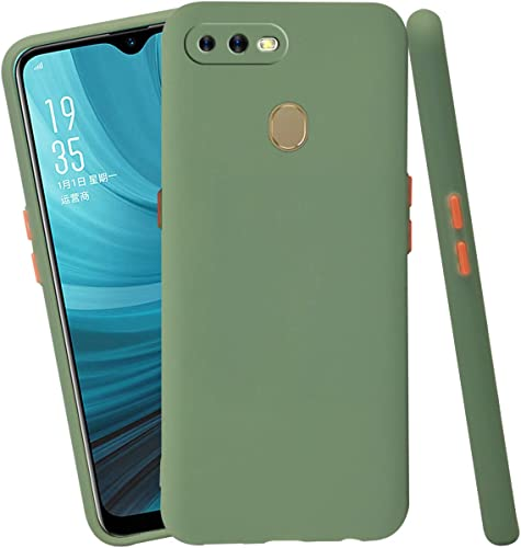 Jkobi Soft Silicon Camera Protection Back Cover Case For Oppo A7 With Color Highligted Smoke Buttons Green