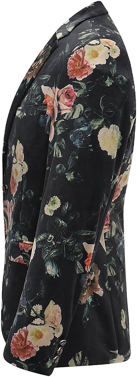 Mens Floral Blazer One Button Slim Fit Suit Jacket Fashion Sport Coat