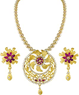 Sri Jagdamba Pearls Designer Pearl and Gold-Plated Set for Women