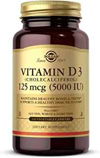 Solgar Vitamin D3 (Cholecalciferol) 125 mcg (5,000 IU) Vegetable Capsules - 240 Count