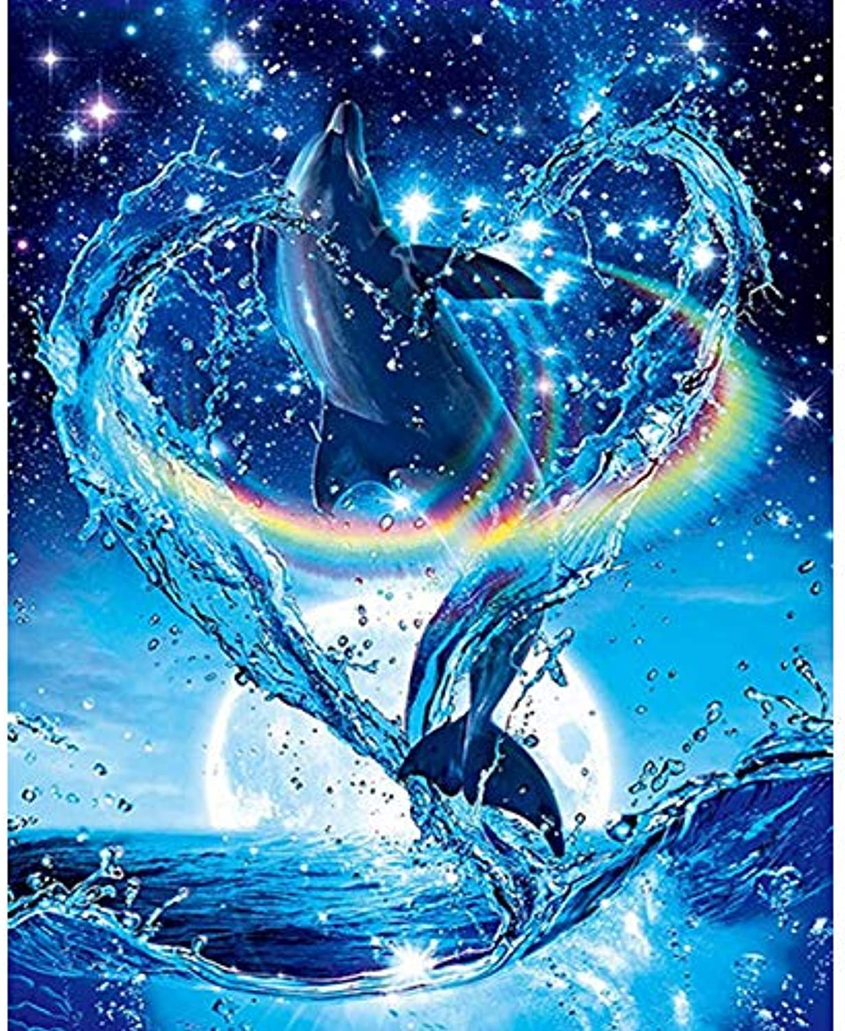 Diy Oil Painting Paint By Number Kit,Marine Animal Dolphin,Gift 16''X20'' Inch