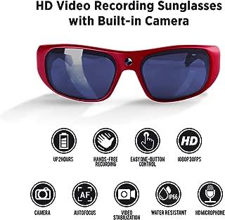 GoVision Apollo 1080p HD Camera Glasses Water Resistant Video Recording Sport Sunglasses - Red