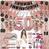 50 Anni Compleanno Decorazioni donna - (76packs) rose gold banner, bandierine, ghirlande, palloncini, tende, cupcake, piatti, accessori foto