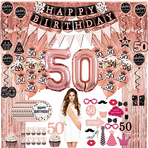 50 geburtstag deko frau geschenk - (76pack) Roségold party Banner, Wimpel, Spiral Girlanden, ballons, Lametta Vorhänge, Cupcake Topper, Pappteller, Foto Requisiten, Geburtstag Schärpe