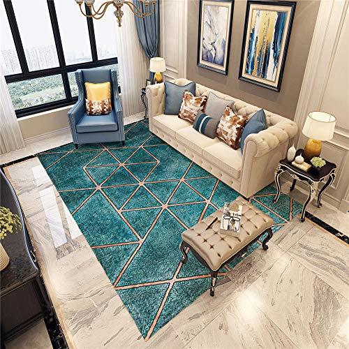 Vloerkleed, onderhoudsarm, zacht vloerkleed, blauw, kristal, fluweel, geometrisch design, zacht vloerkleed, antislip, woonkamertapijt, geluidsdicht tapijt