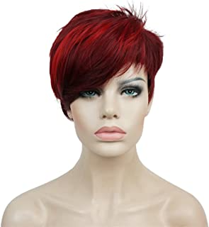 Aimole Synthetic Short 6 Inches Red/Drakest Brown Straight Wig Heat Resistant Full Capless Hair Party Wig(99J-20C)