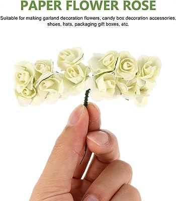 HEALLILY 144 Piezas de Rosas Artificiales Flores de Papel Beige Rosas con Tallos para DIY Ramos de Boda Centros de Mesa Fiesta de Despedida de Soltera Decoración de Arreglos Florales en
