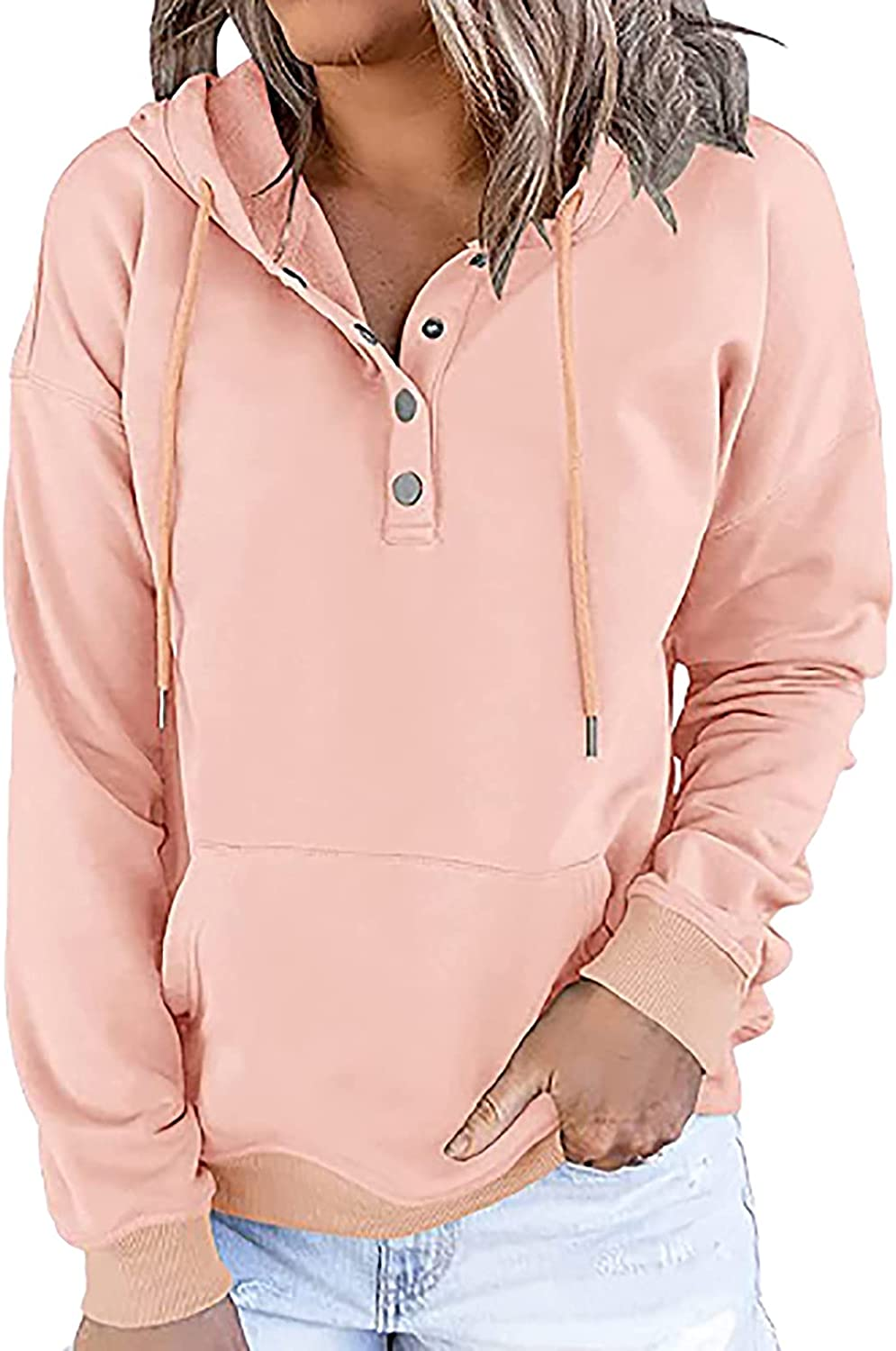Button Hoodies for Women Winter Casual Drawstring Pullover Long Sleeve Fashion Tops Trendy Blouses T Shirt Tee