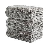 LAVECAR 3 toallas de cocina y paños de cocina, paños de cocina absorbentes suaves, trapos reutilizables, toallas limpias, toallas de fibra fina gris