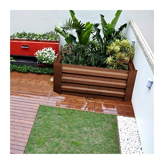Leisurelife Metal Raised Garden Bed Planter Box Kits for Vegetables Outdoor, Steel, 2x2 ft, Brown 5 【Raised Garden Bed Size】:8x4 ft, height 1ft. No bottom 【Material】: The planter box made of color steel, waterproof and anti-rust, can be used for 10 years. 【Open-bottom】: Integrating with nature, there is no trouble with standing water.