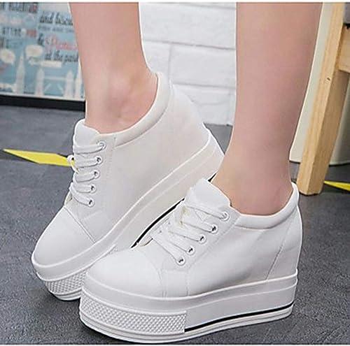TTchaussures Femme Femme Chaussures Toile Printemps Confort Basket Creepers Bout Rond Blanc Noir,blanc,US6 EU36 UK4 CN36  sortie de vente pas cher en ligne