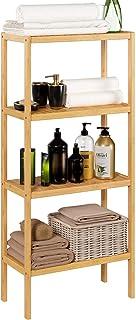 Homfa Bambus Standregal Bücherregal mit 4 Ablagen Badregal schmal Küchenregal für Wohnzimmer Badezimmer Küche 52.7x26x115cm