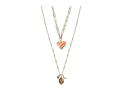 Rebecca Minkoff Rainbow Heart Layer Necklace (Gold/Multi) Necklace