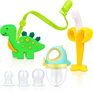 SHARE&CARE Dinosaur Baby Teething Toys Set, 1pc Dinosaur Teether, 1pc Banana Teether, 1pc Dinosaur Food Feeder Pacifier wi...