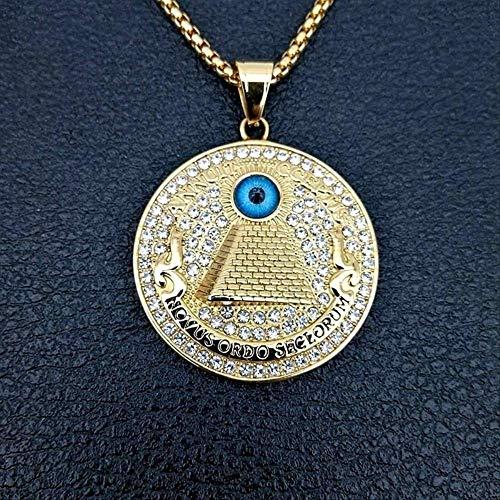 Naswi Vintage Pirámide Egipcia Antigua Ojo De Horus Colgante Collar De Mujer Collar con Incrustaciones De Cristal Colgante Redondo Accesorios Joyería