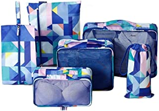 6 Piece Set Packing Cubes - Travel Organizers with Laundry Bag and Shoe Bag - Waterproof