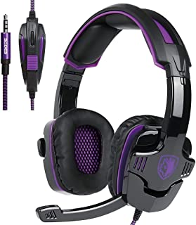 SADES purple 3.5mm Stereo Gaming Headset with Microphone Over Ear Headphones for PC/MAC/PS4(Purple)