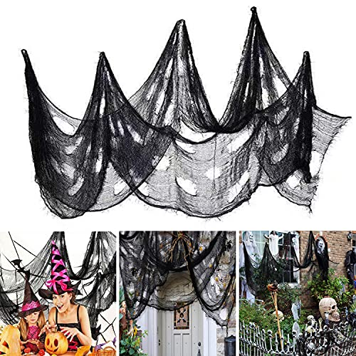 Ollny Halloween Creepy Cloth 80 x 200 in, Scary Gauze Doorways Spooky Giant Tapestry for Halloween Party Supplies Decorations Outdoor Yard Home Wall Decor, Black