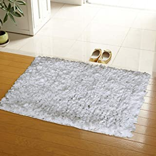 The Home Talk Paper Tissue Shag Cotton/Polyester Blend Bath Rug Place in Front of Shower, Vanity, Bath Tub, Sink, and Toilet (20