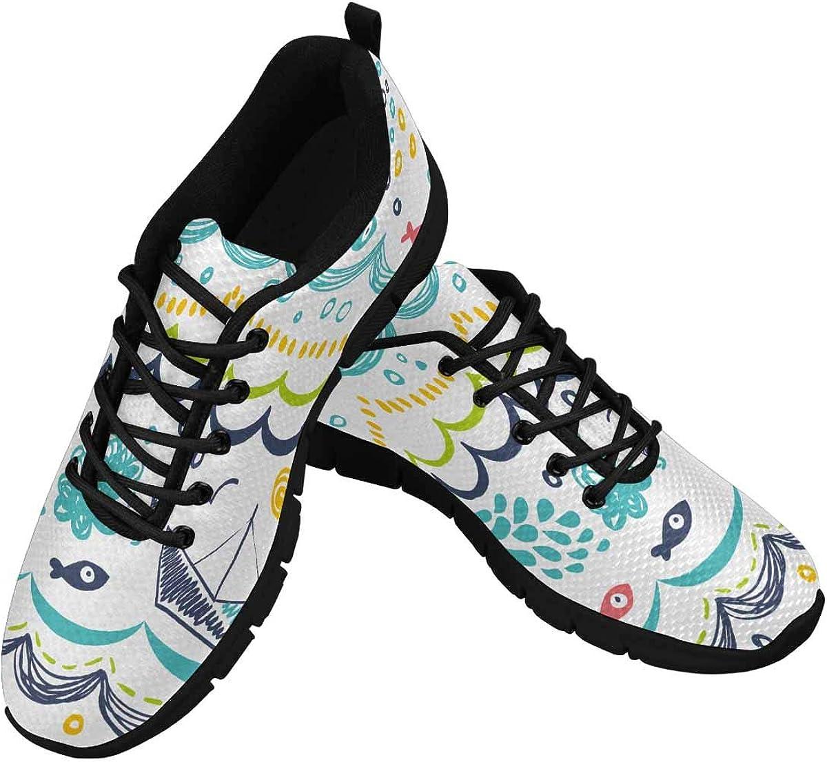 INTERESTPRINT Sea Ocean Wave Women Walking Shoes Comfortable Lightweight Work Casual Travel Sneakers