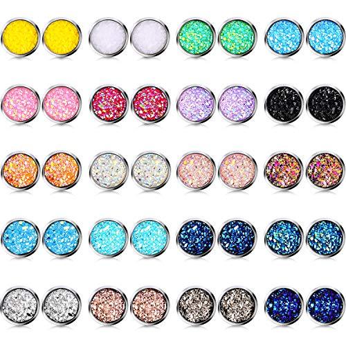 20 Paia Orecchini a Bottone Sfigati Set Orecchini Rotondi in Acciaio Inossidabile Trafitto Orecchini Gioielli per Donne Ragazze (10 mm)