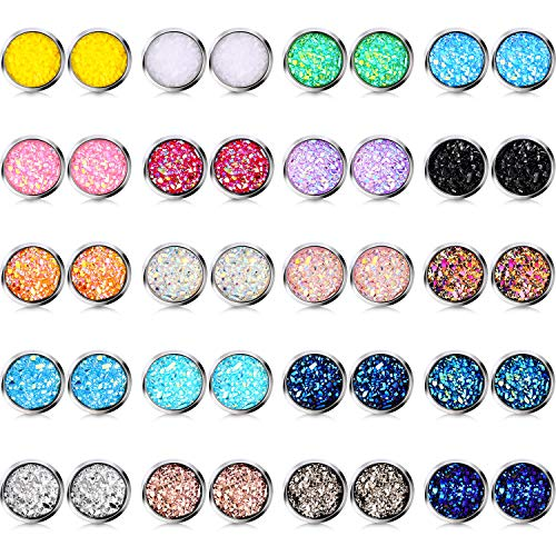 20 Pairs Druzy Stud Earrings Set Stainless Steel Round Earrings Pierced Earrings Jewelry for Women Girls (Silver Base, 8)
