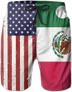 Usieis Mexican and American Flag Surfing Pocket Elastic Waist Men's Beach Pants Shorts Beach Shorts Swim Trunks