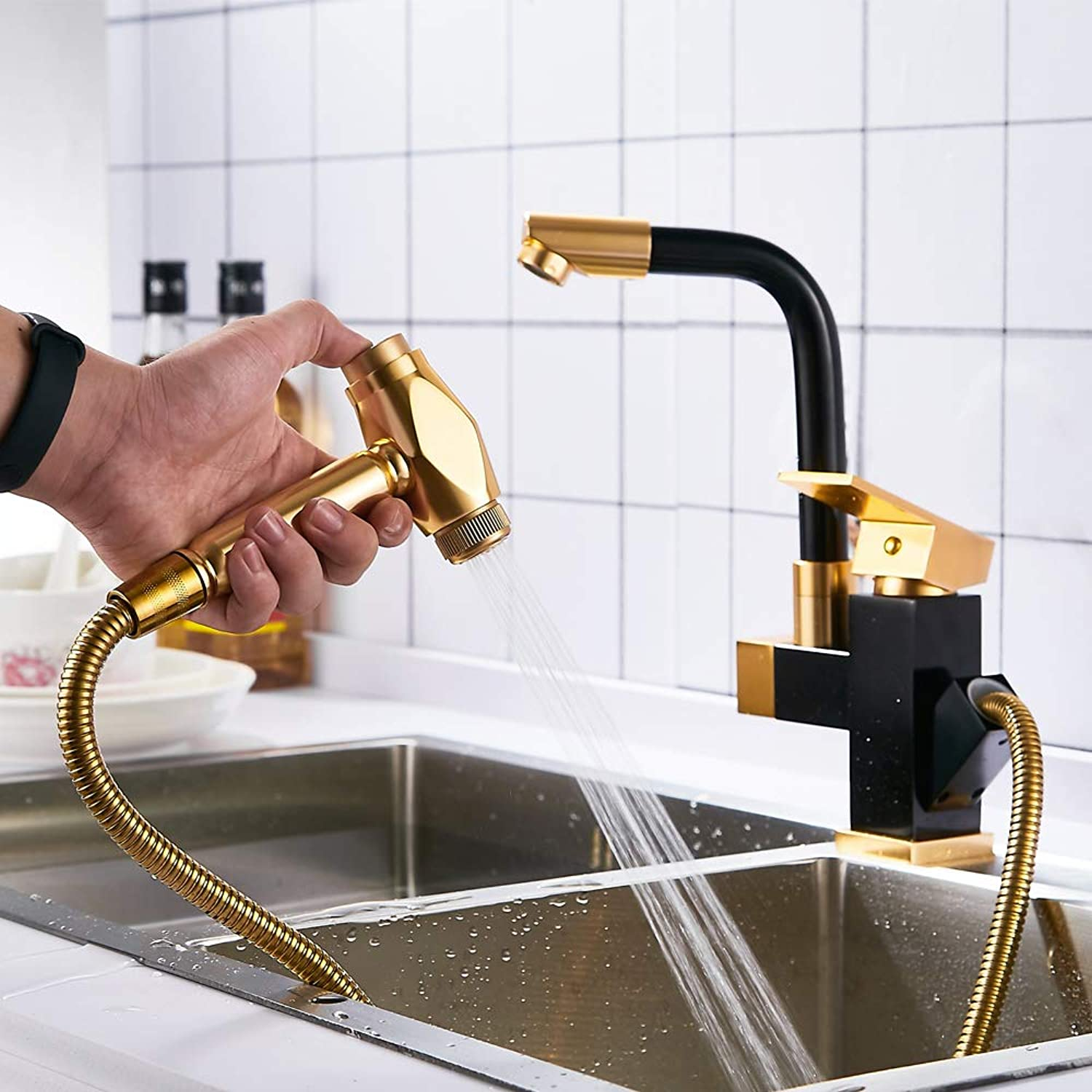 Kitchen Sink Faucet Multifunction Single Handle Dual Mode High Arc Brushed Nickel Pull Out Commercial Lead Free Single Handle Pull Down tap