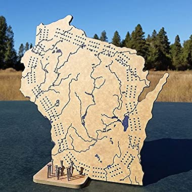 Benna Designs 3 Track Wisconsin-Shape Engraved Rivers and Lakes Triple Cribbage Board with Stand and Rustic Nail Pegs, Tan Blue