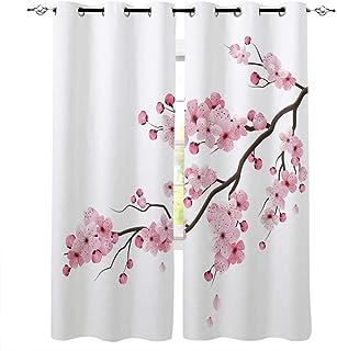 BSZHCT Rideaux Occultants Isolant Thermiques Rideau à Oeillets Fleurs de Cerisier Rose Japonais Polyester Draperies à Oeil...