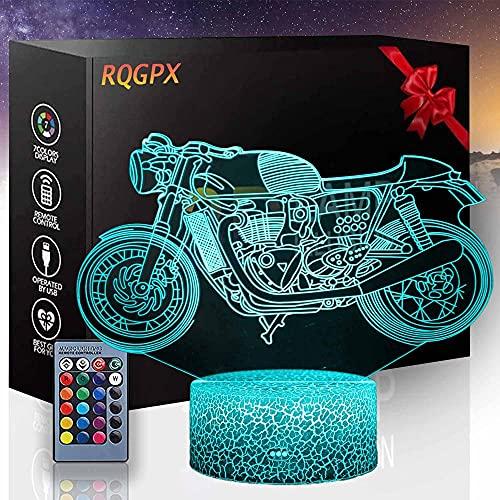 Lámpara de mesa para juegos de motocicletas A 3D ilusión lámpara de mesa para niños 16 colores cambiantes lámpara de noche con mando a distancia, regalos de cumpleaños para bebés niños y adultos
