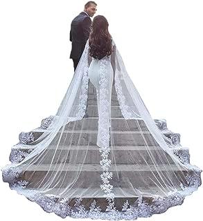 Women Veil Cape Tulle Lace Applique 3M 4M Wedding Capes Bridal Wraps Long Train Shawls Cloak