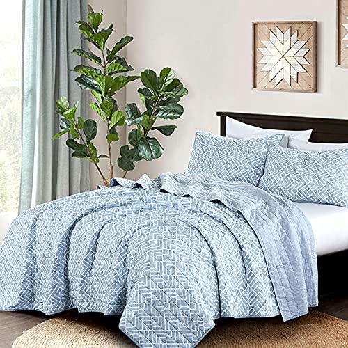 Wellbeing Quilt Set, Ultra Soft Cotton, Lightweight Bedding Quilt Bedspread Set - Watercolor Geometric, Blue, Full/Queen Size, 3 Pieces