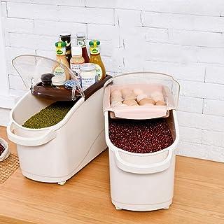 MU Bois Massif de boîte de Rangement portative de ménage, boîte de Riz de Grande capacité de Preuve d'insecte, nécessités ...