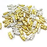 100Pcs Brass Screw Twist Clasps for Jewelry Making,Barrel Screw Clasps Jewelry End Tip Caps 1~1.2mm Hole Tube Fastener Cord End Caps for DIY Bead Necklace Bracelet Earring Jewelry Making,Gold,White K