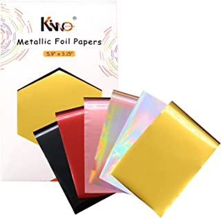 KINNO 60 Pieces Metallic Paper Foil Sheets- 6 Mixed Colors Hot Stamping Transfer Foil Paper Laminating on Printer Craft Su...