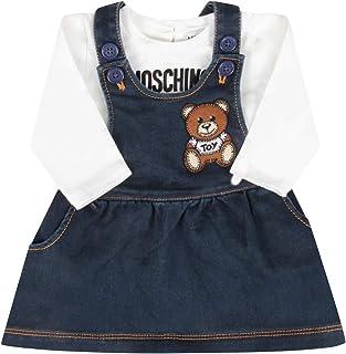 MOSCHINO BABY Completo MDK01QLDE07 Blu Salopette e Maglia Teddy Bear Autunno Inverno 2020