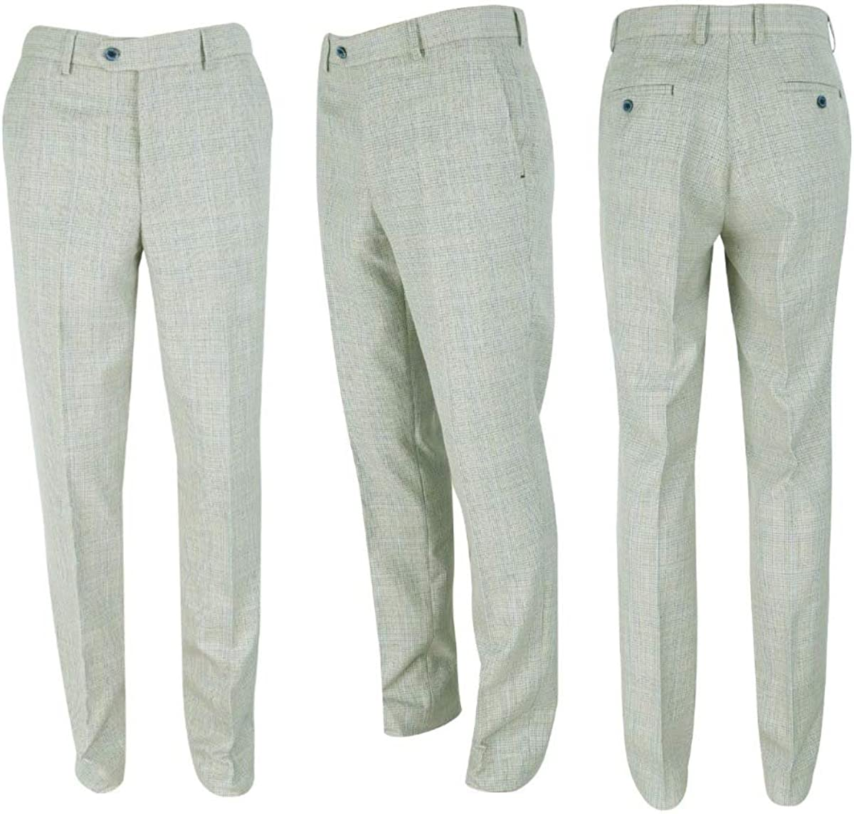Men's Slim Fit Tweed Suit Blazer Vest Pants Sold Separately Retro Houndstooth Check Pattern in Beige