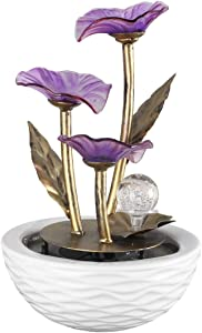 crapelles Relaxation [Spinning Orb] Tabletop Fountain (Rose Red Flower), Meditation Waterfall Feature with Changing Color for Indoor Home Office Bedroom Water Lily Water Fountain-Small Size