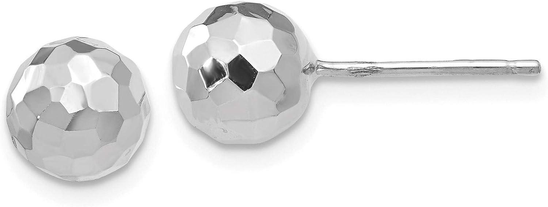 14K White Gold Polished Diamond Cut 7MM Ball Post Earrings, 14k White Gold