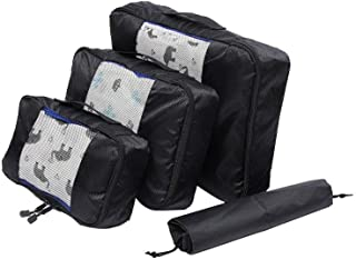 Waterproof Travel Storage Bags Luggage Organizer Pouch Packing Cube Clothing Sorting Packages Pack of 4pcs Black